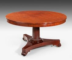 A Circular Tilt Top Mahogany Plum Pudding Veneered Breakfast Table,  Supported On A Very