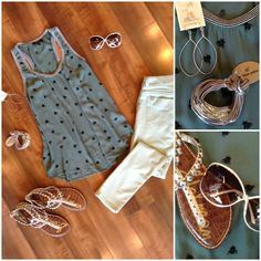 In love with this bee print on our new Ella Moss top! We paired it with sage green skinnies, Sam Edelman studded sandals, Robin Haley hoop earrings, Gillian Julius bracelet & Tom Ford sunglasses!