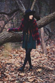 Style Scrapbook: Plaid Jacket + Dress + Wide Brim Hat