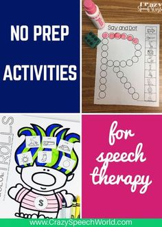 No prep Articulation activities for speech and language therapy