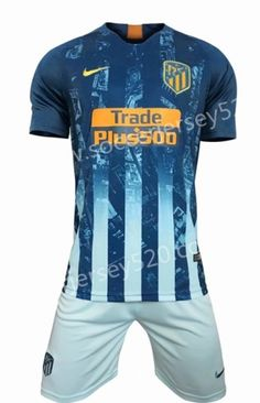 2018-19 Atletico Madrid 2nd Away Blue Soccer Uniform 13dbb6335
