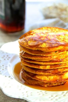 Quick, healthy, and sporting a whopping 20g of protein, these Pumpkin Spice Greek Yogurt Pancakes make an easy and delicious fall-inspired breakfast!