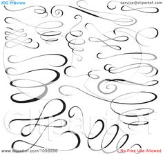 Clipart Black Swirl Scribbles And Design Elements - Royalty Free Vector Illustration by dero