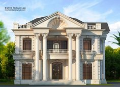 Designed by Mohsen Laei khezer shahr,mazandaran,Iran House Arch Design, House Outside Design, Village House Design, Home Building Design, Bungalow House Design, Small House Design, White Exterior Houses, Classic House Exterior, Classic House Design