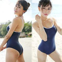 Japanese Swimsuit, Blue And White Style, One Piece Cosplay, Beachwear, Swimwear, Poses, Bikini Models, Beautiful Asian Girls, Women Swimsuits