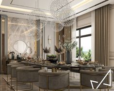 Dining room with Neo-classic style on Behance Living Room Sofa Design, Master Bedroom Design, Living Room Designs, Neoclassical Interior Design, Interior Design Work, Luxury Home Decor, Classic Style, French Style, Dining Room