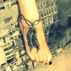 Anklet Style Feather Birds Tattoo Design For Girls