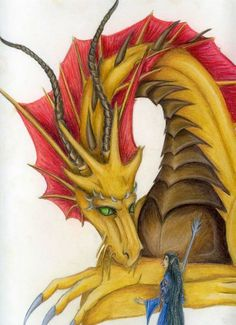 SciFi and Fantasy Art Golden Dragon by Claire Waller