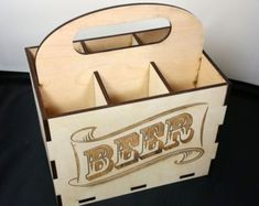 BEER CASE 6 pack laser cut wood by nygaarddesign on Etsy… Graveuse Laser, Laser Cut Box, Laser Cutting, Laser Cutter Projects, Cnc Projects, 3d Laser Printer, Beer Caddy, Cnc Plans, Laser Cut Files