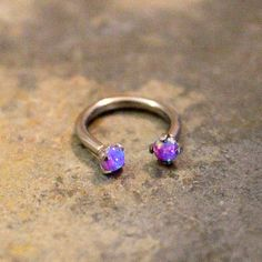 Purple Opal Fire Hoop 16G Lip Ring Cartilage Septum by Purityjewel