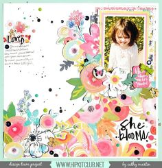 Isn't this layout by designer @catgmartin darling? So pretty with the @illustratedfaith #sheblooms paper and all those awesome #hkcexclusive #ephemera pieces included in our #may2016 #hipkits!  @hipkitclub @jillibeansoup #healthyhellosoup #scrapbook #scrapbookingkitclub #kitclub #scrapbooking #hipkitclub @echoparkpaper #enameldots