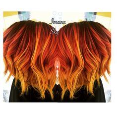 Purple roots to red orange and neon yellow flame /sunset Balayage hair  @imanaskysalon: