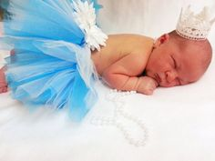 Blue and White Newborn Tutu and Crown Photo by ShirleyTemplesTutus, $29.00