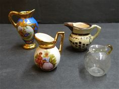 Miniature Vintage Pitchers Limoges...ooh..i have a few Limoge pieces...love the colour in them