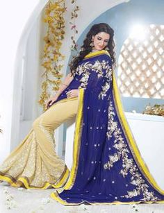 Ruhani Fashion | Products | Lehenga Saree,New Arrivals | Pristine Blue Beige Georgette Saree