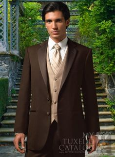 chocolate tuxedo | Exclusivesuits :: 3PC VESTED TUXEDO :: BROWN