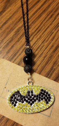 Batman Black Agate Essential Oil Lava Necklace