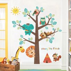 These nursery jungle wall decals are the perfect piece of decor for nursery, your child's bedrooms and play area. You can transform any boring room in just seconds with our wall decals. Animal Wall Decals, Kids Wall Decals, Wall Stickers, Diy Wand, Nursery Wallpaper, Of Wallpaper, Kids Bedroom Boys, Kids Room, Arrow Nursery