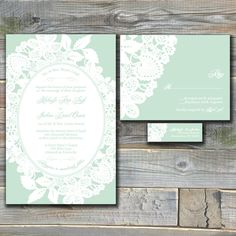vintage mint wedding invitations
