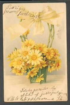 FLOWERS ,VERY NICE EARLY POSTCARD, UNSIGNED C. KLEIN