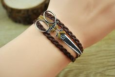 Brown charm braceletsilvery alloy scissorsleather by Richardwu, $3.99