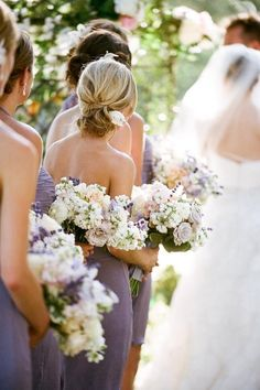 I like this color palette for bridesmaid bouquets too! Looks like it has some - Lilac Wedding - Lavender Bridesmaid, White Bridesmaid Dresses, Fall Wedding Dresses, Lavender Dresses, Bridesmaid Bouquets, Bridesmaids, Lavender Weddings, Bridal Bouquets, Wisteria Bridesmaid Dresses