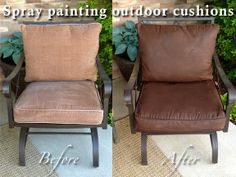 DIY - Spray painting outdoor cushions with Rust-Oleum