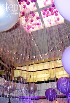 purple and silver balloon decor http://www.rsvp-blog.com/lifes-celebrations-1/glamorous-purple-theme-surprise-party