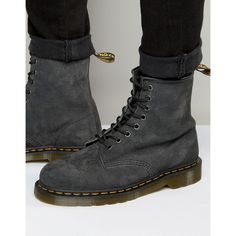 Dr Martens 1460 8 Eye Suede Boots ($155) ❤ liked on Polyvore featuring men's fashion, men's shoes, men's boots, grey, mens grey shoes, dr martens mens boots, mens grey suede boots, mens lace up shoes and mens lace up boots