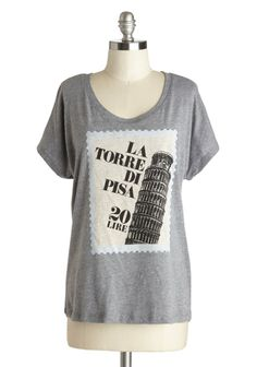 Postcard from Pisa Top. Whenever you miss friends who've gone on a trip to Italy, you soon end up smiling when you receive a postal hello from a pal in Pisa. Cute Graphic Tees, Fashion Sites, Tees For Women, Novelty Print, Cool Tees, Modcloth, Pisa, My Style, Mens Tops