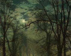 John Atkinson Grimshaw - A Moonlit Lane (1874)