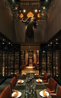 Mind boggling private dining wine room in Dubai.