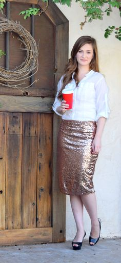 afded93896 This midi skirt features a gold sequin overlay, a back zipper, no slit and.  Rose Gold SkirtGold Pencil ...