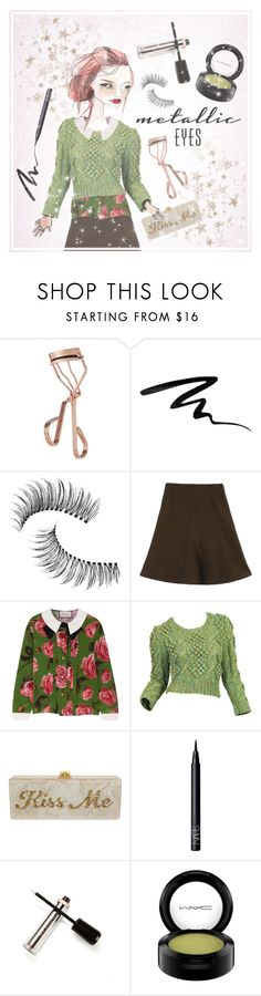 """""""Beauty after dark"""" by never-too-late-to-dream ❤ liked on Polyvore featuring beauty, Tweezerman, Eyeko, Trish McEvoy, Marni, Gucci, Edie Parker, NARS Cosmetics, M2BEAUTÉ and MAC Cosmetics"""