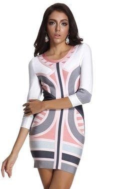 e16cca832c Pink   Blue Colorful Bodycon Bandage Dress