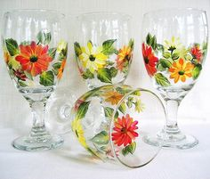 Goblets Hand Painted Chrysanthemum Flowers Set of 4 Flower Vases, Flowers, Chrysanthemum Flower, I Shop, Glass Vase, Daisy, Hand Painted, Painting, Art