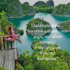 Ονοιρεμενες καλημέρες New Quotes, Wisdom Quotes, Life Code, Good Morning Texts, Beautiful Pink Roses, Greek Quotes, In This Moment, River, Night