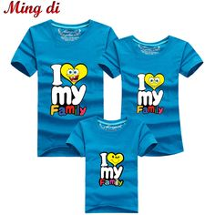 Ming Di Brand 2016 Family Matching Outfits T Shirt Short Sleeve 95% Cotton I LOVE MY Family Look Girl Mother Dad Son Clothing