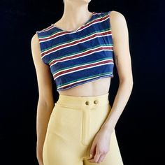 038584b5e3 sleeveless striped crop top Striped Crop Top