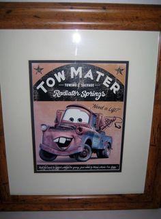 Framed Pixar Disney TOW MATER McQueen's Best Friend Tow Truck From Cars Print #Disney