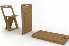 Sheatseat chair lays flat like a business card