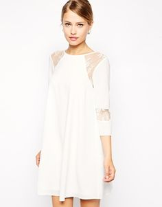 Image 1 ofASOS Swing Dress with Pretty Lace Inserts