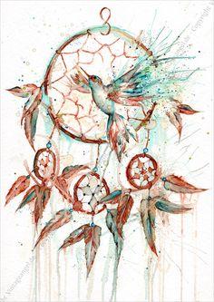 Traumfänger mit Vogel, Symbolbild, Ink Art