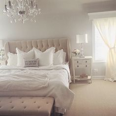 A little too monochromatic for me, but I really like the blend of glamorous and 'shabby chic'. #masterbedroom #bedroom #whitebedroom