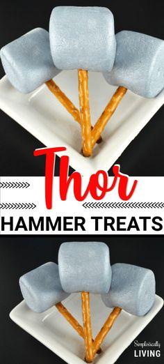 Simple Thor Hammer Treats - simple treats made to look like Thor's Hammer from the Avengers! Avengers Birthday, Superhero Birthday Party, Boy Birthday, Batman Party, Birthday Ideas, The Avengers, Superhero Treats, Avengers Crafts, 9th Birthday Parties