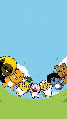 together Friends Wallpaper, Mobile Wallpaper, Wallpaper Backgrounds, Iphone Wallpaper, Kawaii Wallpaper, Wallpaper Ideas, Apeach Kakao, Friend Cartoon, Kakao Friends