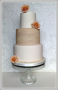 Vintage Wedding Cakes | vintage pearl rose wedding cake 3 tiered wedding cake each tier is ...