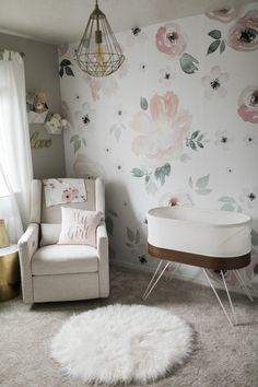 Light and Airy Floral Nursery with Jolie Wallpaper - Project Nursery