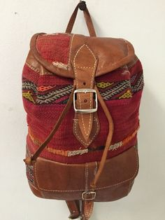 Moroccan Tribal Rugged Backpack in Kilim Handwoven Wool & Leather Travel Bag #Handmade #Backpack