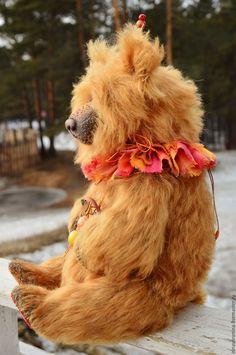 Купить Огонёк...коллекционный медведь тедди - рыжий, огонь, огонек, мишка, мишка тедди